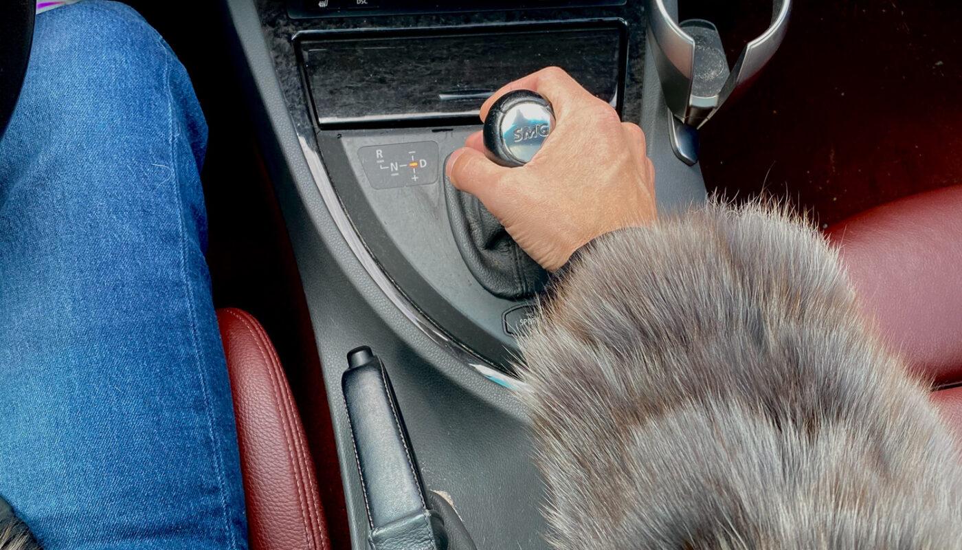 Fox fur hoodie in BMW 6 series